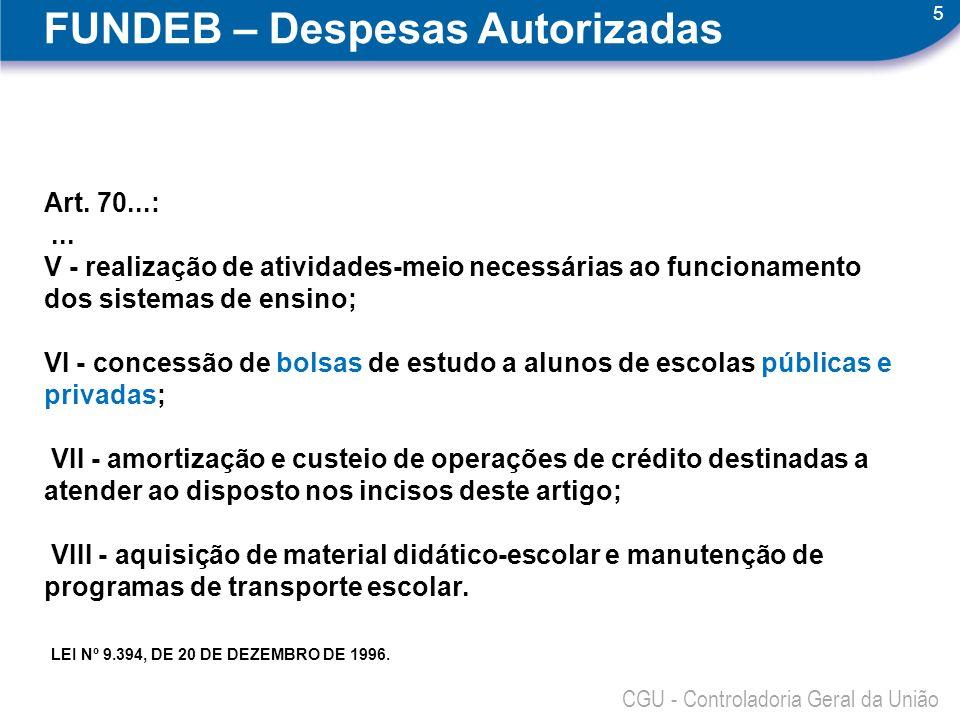5 FUNDEB – Despesas Autorizadas Art. 70...:... V - realização de atividades-meio necessárias ao funcionamento dos sistemas de ensino; VI - concessão d