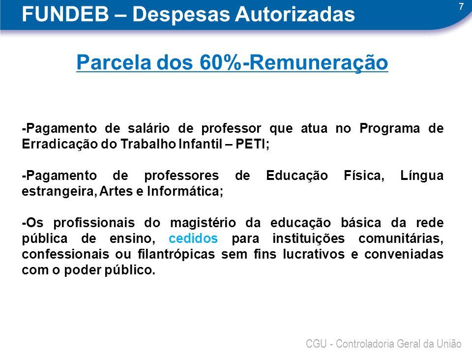 7 CGU - Controladoria Geral da União FUNDEB – Despesas Autorizadas Parcela dos 60%-Remuneração -Pagamento de salário de professor que atua no Programa