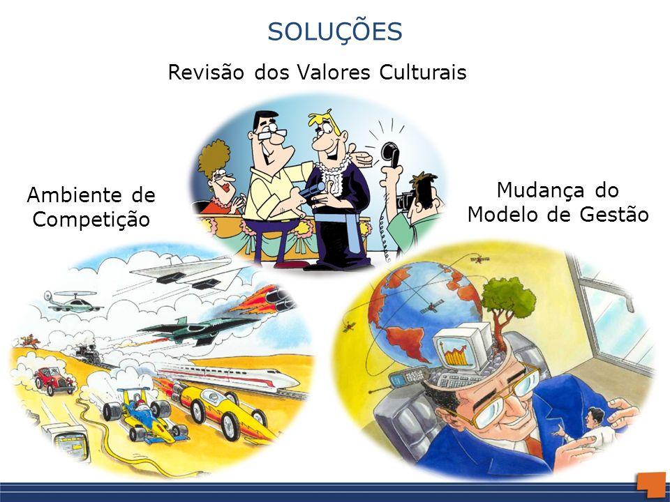 SOLUÇÕES Mudança do Modelo de Gestão Ambiente de Competição Revisão dos Valores Culturais