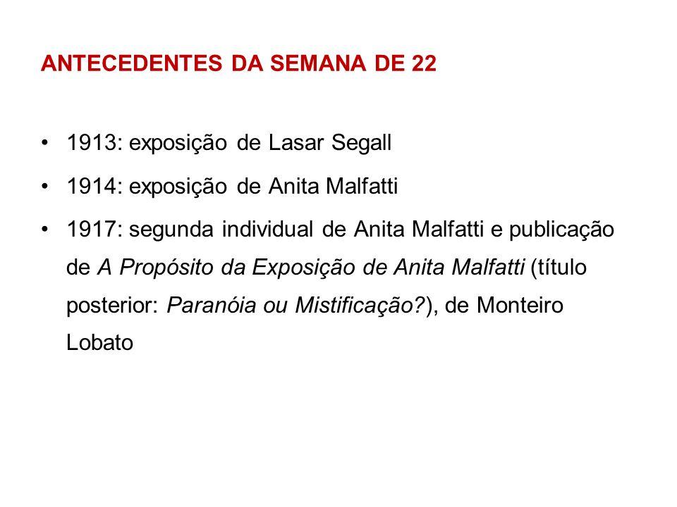 ANTECEDENTES DA SEMANA DE 22 1913: exposição de Lasar Segall 1914: exposição de Anita Malfatti 1917: segunda individual de Anita Malfatti e publicação