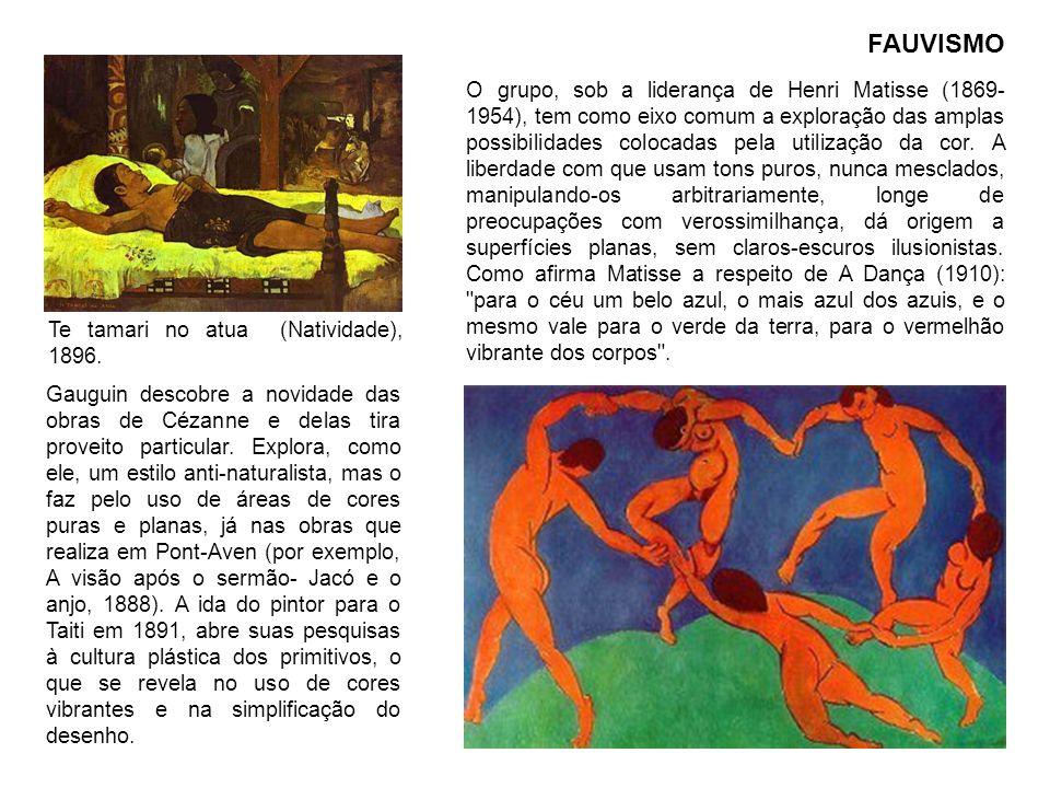 FAUVISMO Gauguin descobre a novidade das obras de Cézanne e delas tira proveito particular. Explora, como ele, um estilo anti-naturalista, mas o faz p
