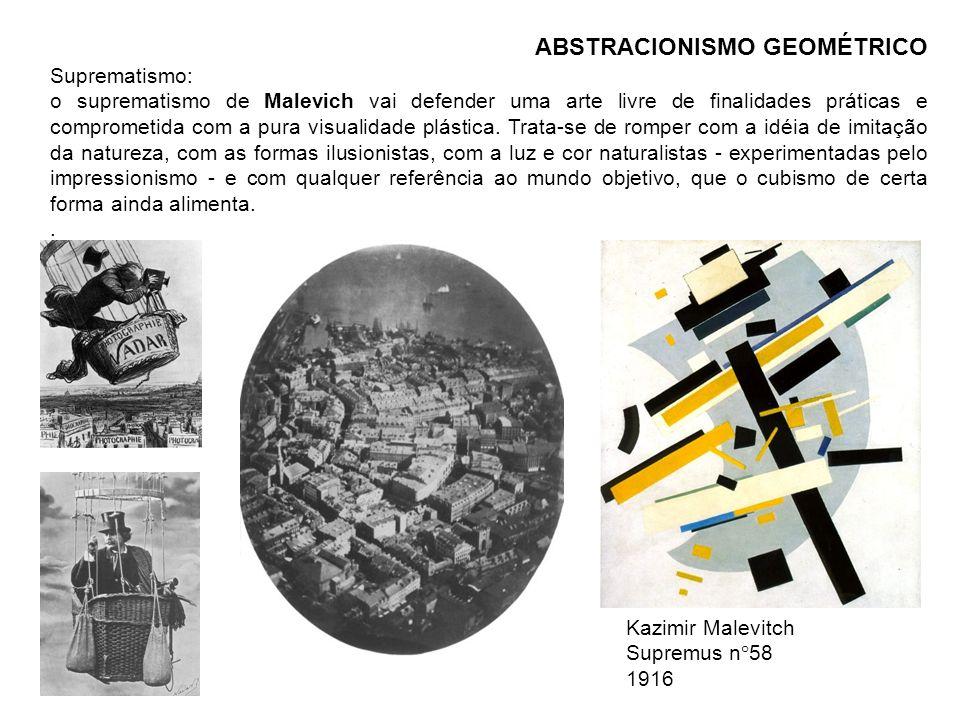 ABSTRACIONISMO GEOMÉTRICO Suprematismo: o suprematismo de Malevich vai defender uma arte livre de finalidades práticas e comprometida com a pura visua