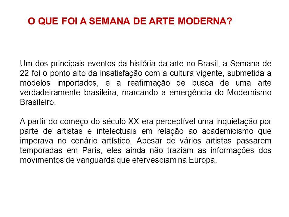 Um dos principais eventos da história da arte no Brasil, a Semana de 22 foi o ponto alto da insatisfação com a cultura vigente, submetida a modelos im