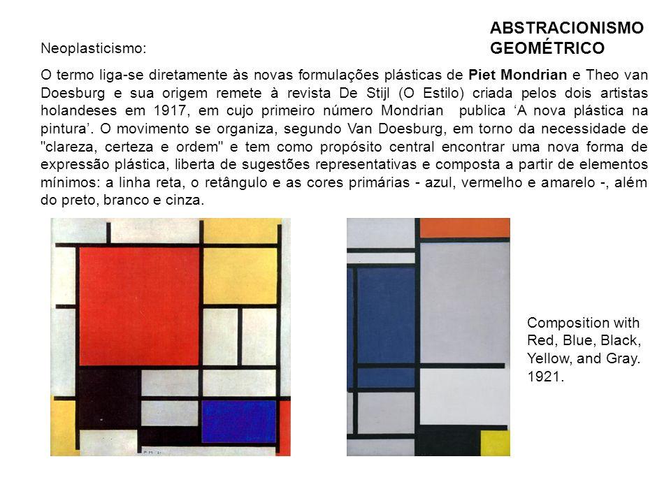 ABSTRACIONISMO GEOMÉTRICO Composition with Red, Blue, Black, Yellow, and Gray. 1921. Neoplasticismo: O termo liga-se diretamente às novas formulações