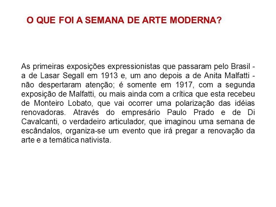 As primeiras exposições expressionistas que passaram pelo Brasil - a de Lasar Segall em 1913 e, um ano depois a de Anita Malfatti - não despertaram at