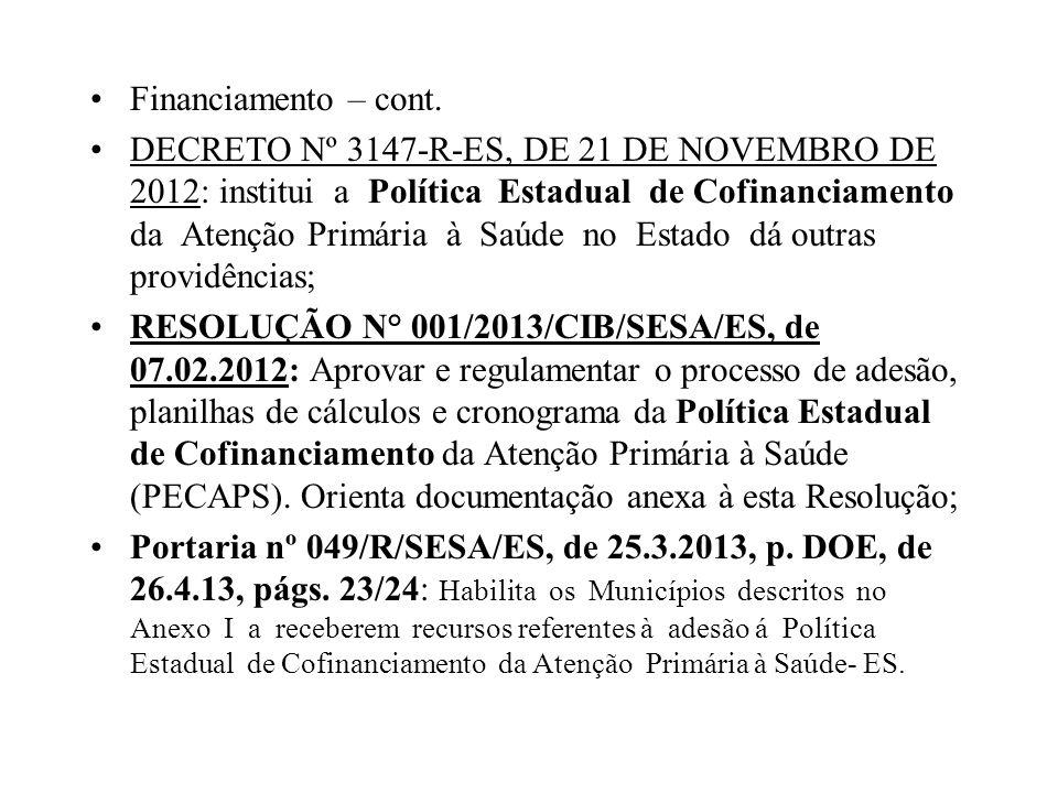 Financiamento – cont. DECRETO Nº 3147-R-ES, DE 21 DE NOVEMBRO DE 2012: institui a Política Estadual de Cofinanciamento da Atenção Primária à Saúde no