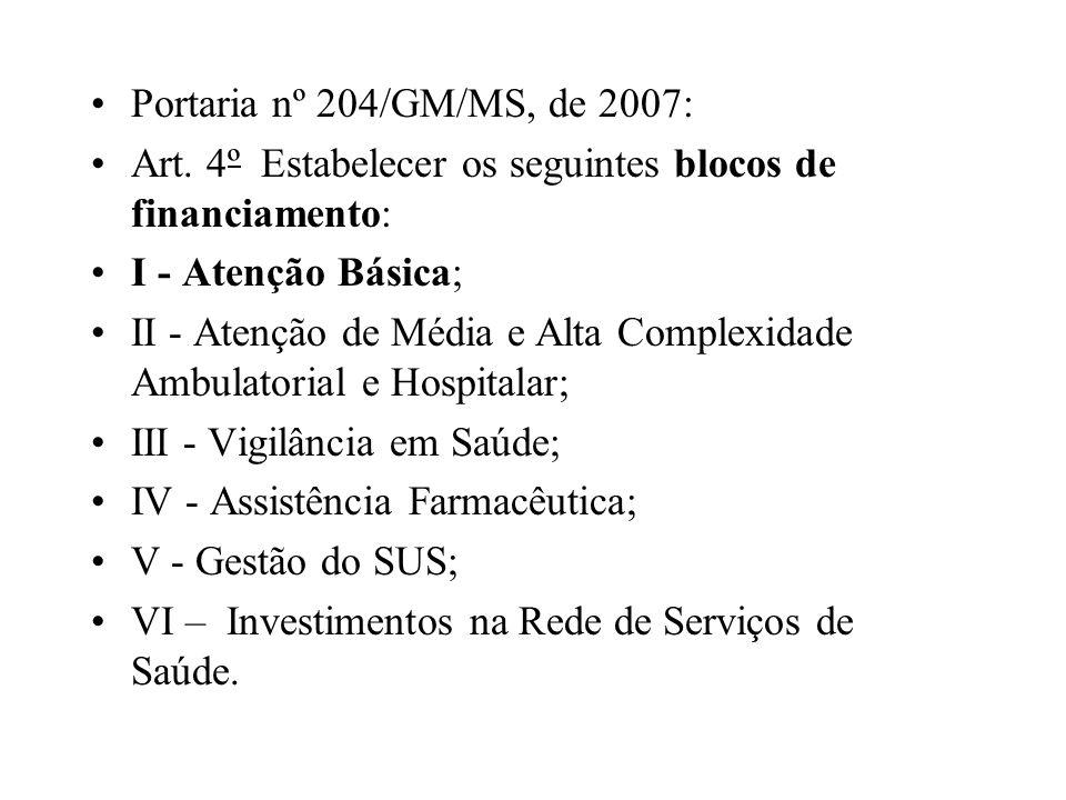 Portaria nº 204/GM/MS, de 2007: Art. 4º Estabelecer os seguintes blocos de financiamento: I - Atenção Básica; II - Atenção de Média e Alta Complexidad