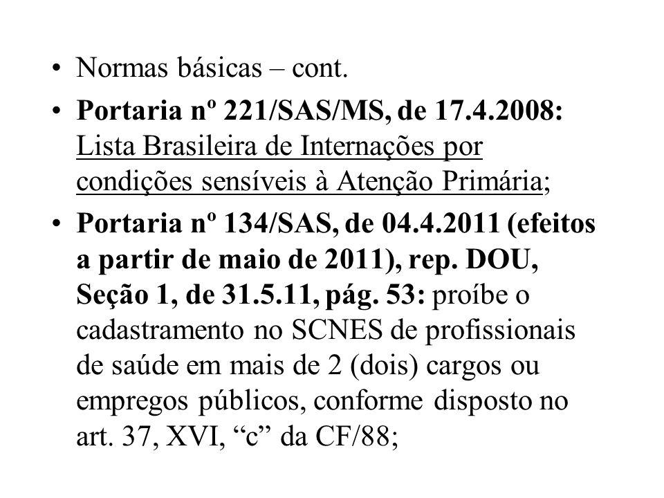Normas básicas – cont. Portaria nº 221/SAS/MS, de 17.4.2008: Lista Brasileira de Internações por condições sensíveis à Atenção Primária; Portaria nº 1