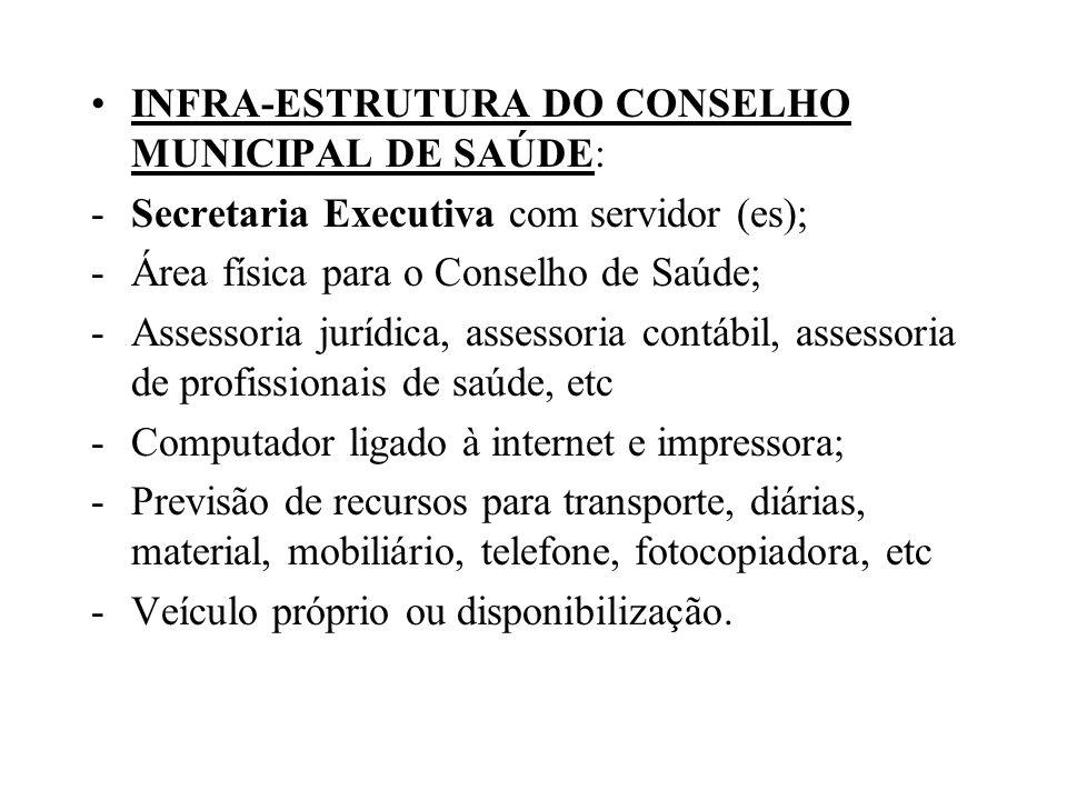 INFRA-ESTRUTURA DO CONSELHO MUNICIPAL DE SAÚDE: -Secretaria Executiva com servidor (es); -Área física para o Conselho de Saúde; -Assessoria jurídica,
