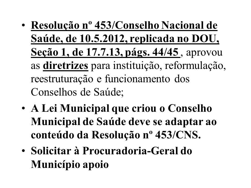 Resolução nº 453/Conselho Nacional de Saúde, de 10.5.2012, replicada no DOU, Seção 1, de 17.7.13, págs. 44/45, aprovou as diretrizes para instituição,