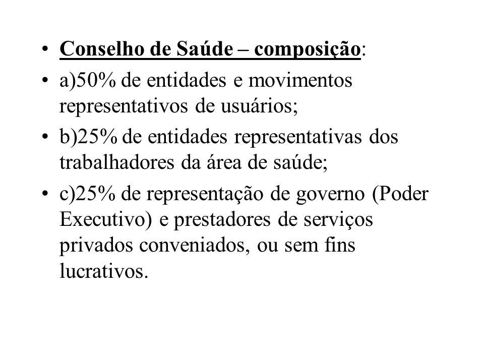 Conselho de Saúde – composição: a)50% de entidades e movimentos representativos de usuários; b)25% de entidades representativas dos trabalhadores da á