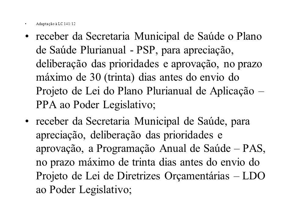Adaptação à LC 141/12 receber da Secretaria Municipal de Saúde o Plano de Saúde Plurianual - PSP, para apreciação, deliberação das prioridades e aprov