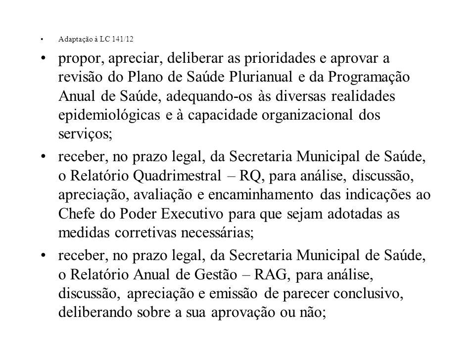 Adaptação à LC 141/12 propor, apreciar, deliberar as prioridades e aprovar a revisão do Plano de Saúde Plurianual e da Programação Anual de Saúde, ade