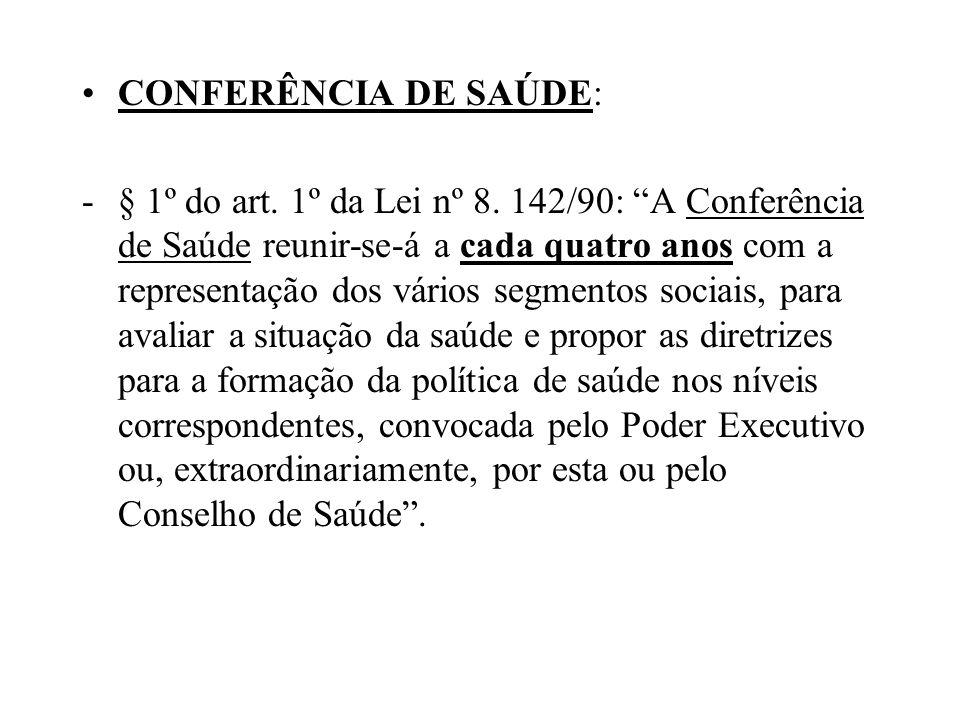 CONFERÊNCIA DE SAÚDE: -§ 1º do art. 1º da Lei nº 8. 142/90: A Conferência de Saúde reunir-se-á a cada quatro anos com a representação dos vários segme