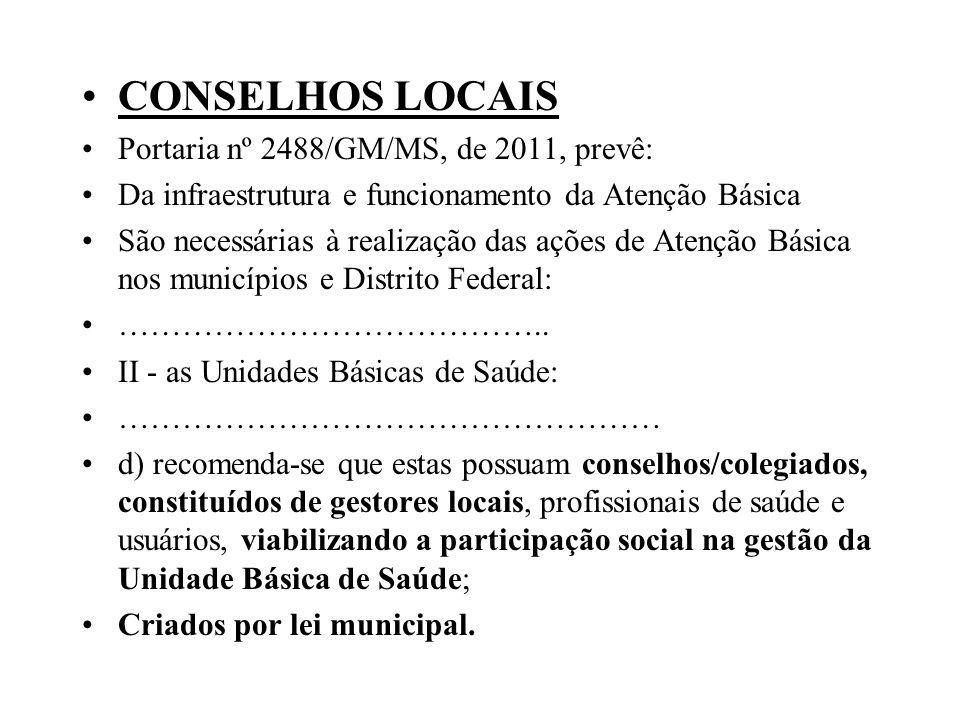 CONSELHOS LOCAIS Portaria nº 2488/GM/MS, de 2011, prevê: Da infraestrutura e funcionamento da Atenção Básica São necessárias à realização das ações de