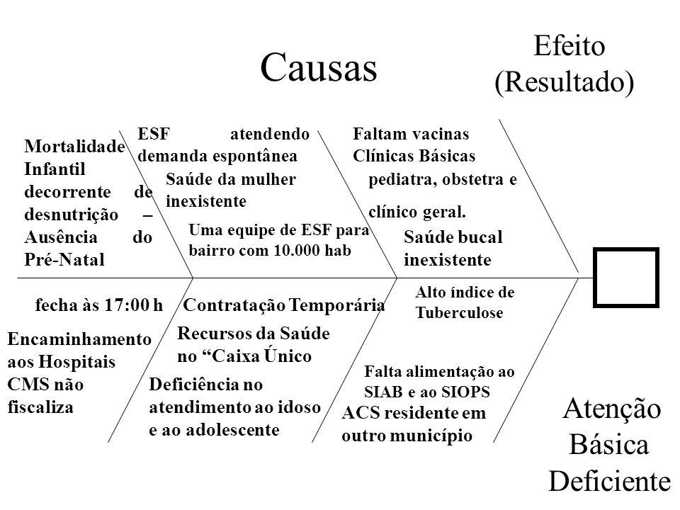 Causas Efeito (Resultado)) Mortalidade Infantil decorrente de desnutrição – Ausência do Pré-Natal ESF atendendo demanda espontânea Saúde da mulher ine
