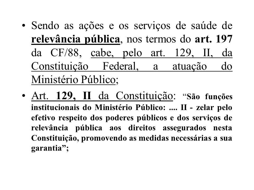 Sendo as ações e os serviços de saúde de relevância pública, nos termos do art. 197 da CF/88, cabe, pelo art. 129, II, da Constituição Federal, a atua