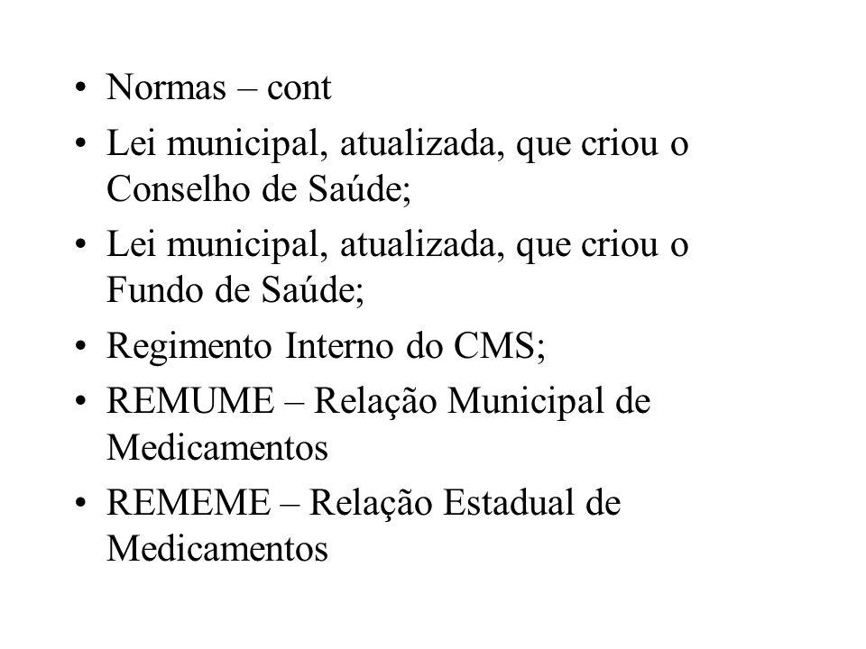 Normas – cont Lei municipal, atualizada, que criou o Conselho de Saúde; Lei municipal, atualizada, que criou o Fundo de Saúde; Regimento Interno do CM