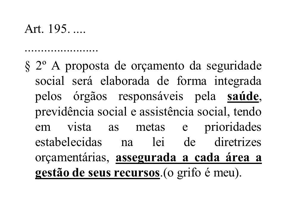 Art. 195............................ § 2º A proposta de orçamento da seguridade social será elaborada de forma integrada pelos órgãos responsáveis pel