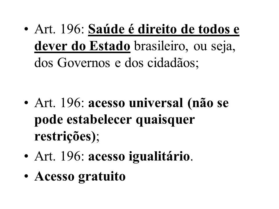 Art. 196: Saúde é direito de todos e dever do Estado brasileiro, ou seja, dos Governos e dos cidadãos; Art. 196: acesso universal (não se pode estabel