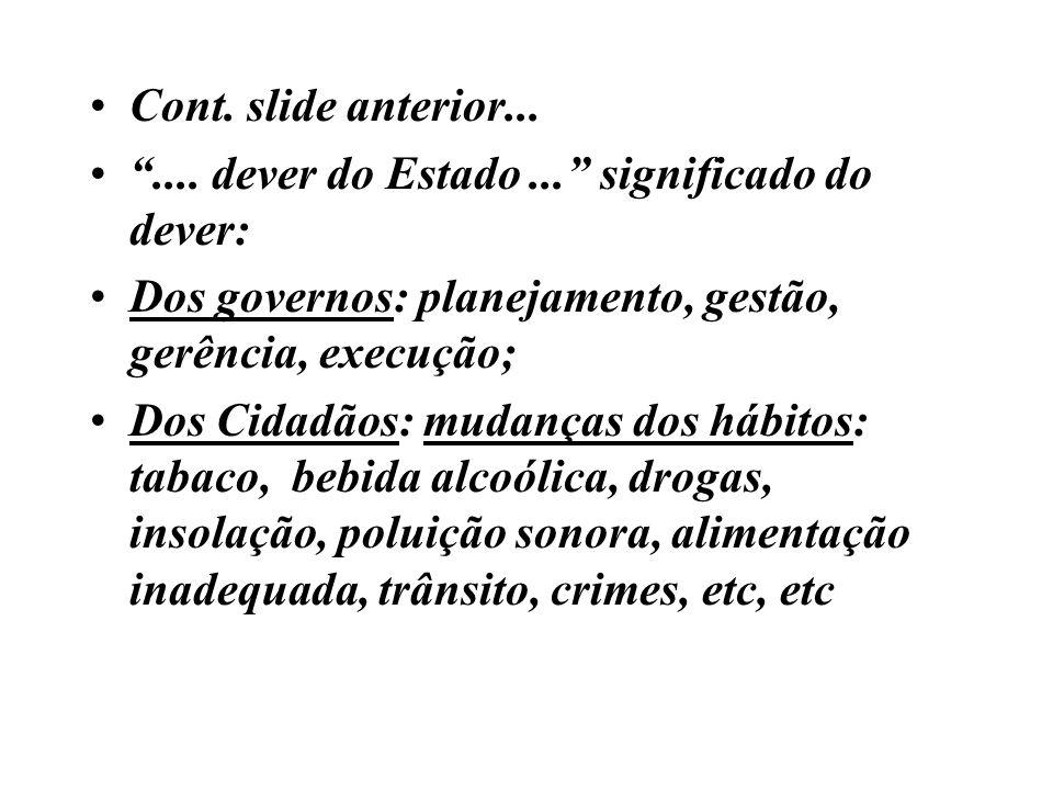 Cont. slide anterior....... dever do Estado... significado do dever: Dos governos: planejamento, gestão, gerência, execução; Dos Cidadãos: mudanças do