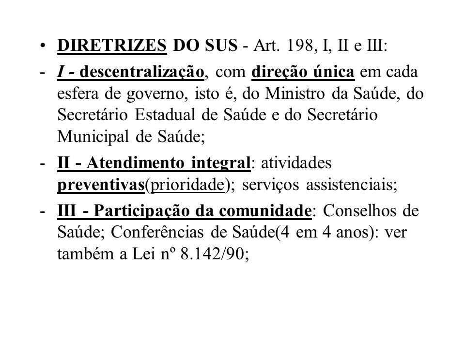 DIRETRIZES DO SUS - Art. 198, I, II e III: -I - descentralização, com direção única em cada esfera de governo, isto é, do Ministro da Saúde, do Secret