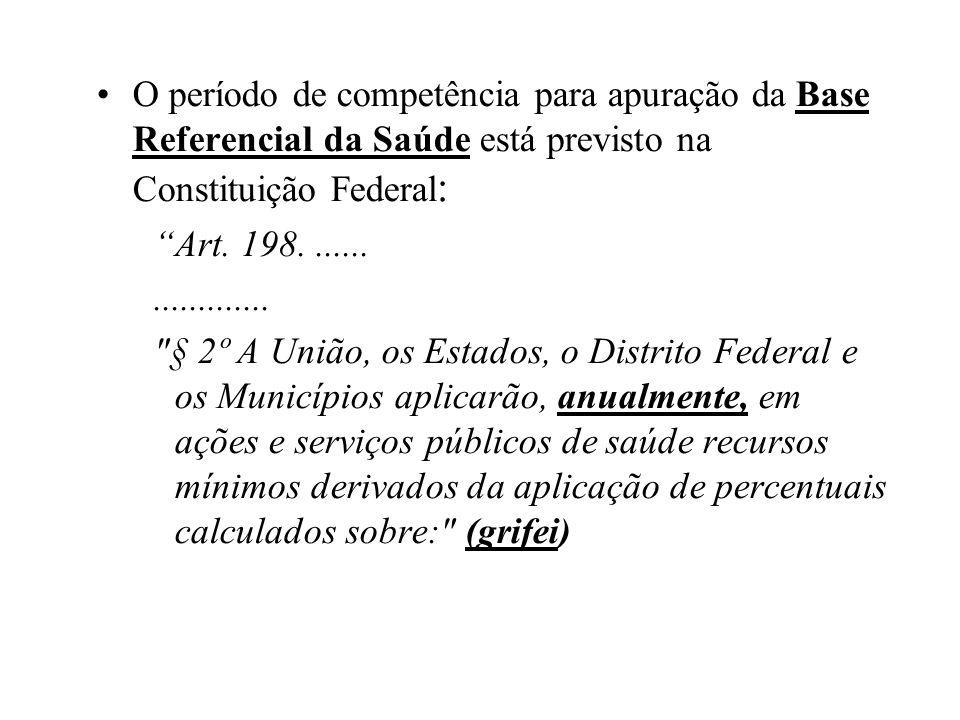 O período de competência para apuração da Base Referencial da Saúde está previsto na Constituição Federal : Art. 198....................