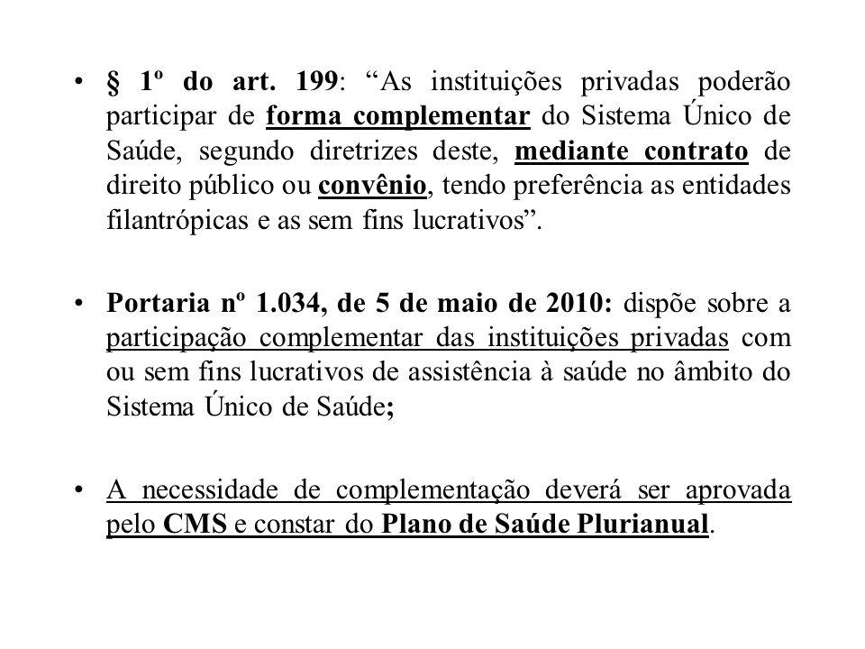 § 1º do art. 199: As instituições privadas poderão participar de forma complementar do Sistema Único de Saúde, segundo diretrizes deste, mediante cont
