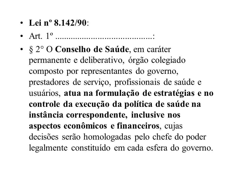 Lei nº 8.142/90: Art. 1º...........................................: § 2° O Conselho de Saúde, em caráter permanente e deliberativo, órgão colegiado c
