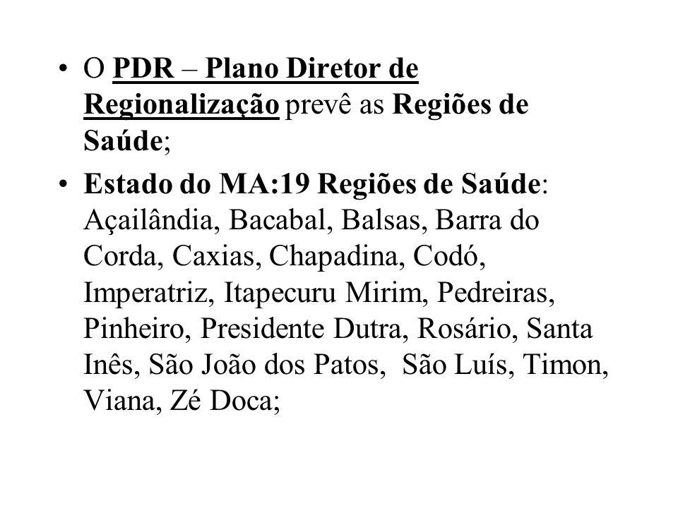 O PDR – Plano Diretor de Regionalização prevê as Regiões de Saúde; Estado do MA:19 Regiões de Saúde: Açailândia, Bacabal, Balsas, Barra do Corda, Caxi