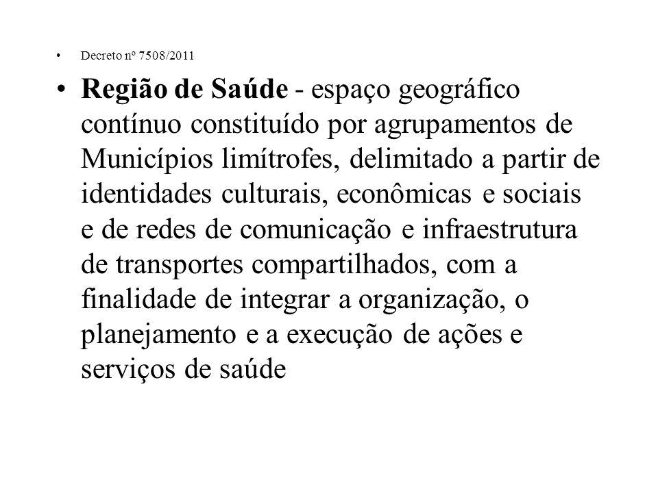 Decreto nº 7508/2011 Região de Saúde - espaço geográfico contínuo constituído por agrupamentos de Municípios limítrofes, delimitado a partir de identi