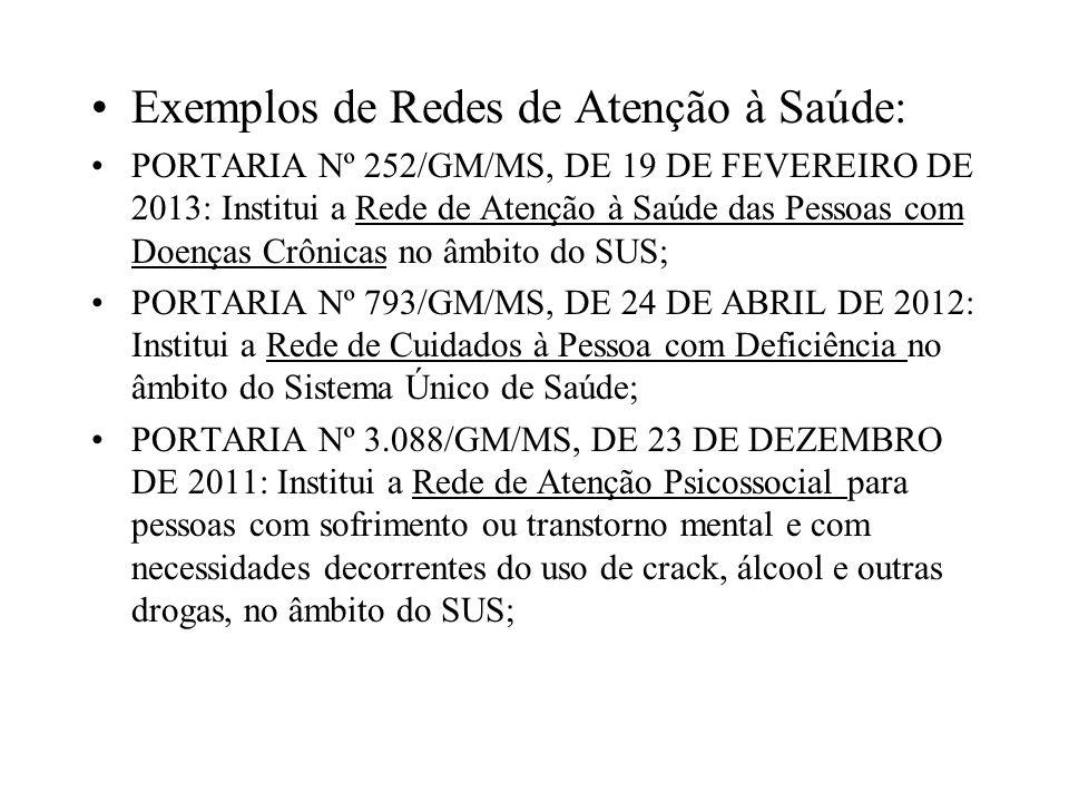 Exemplos de Redes de Atenção à Saúde: PORTARIA Nº 252/GM/MS, DE 19 DE FEVEREIRO DE 2013: Institui a Rede de Atenção à Saúde das Pessoas com Doenças Cr