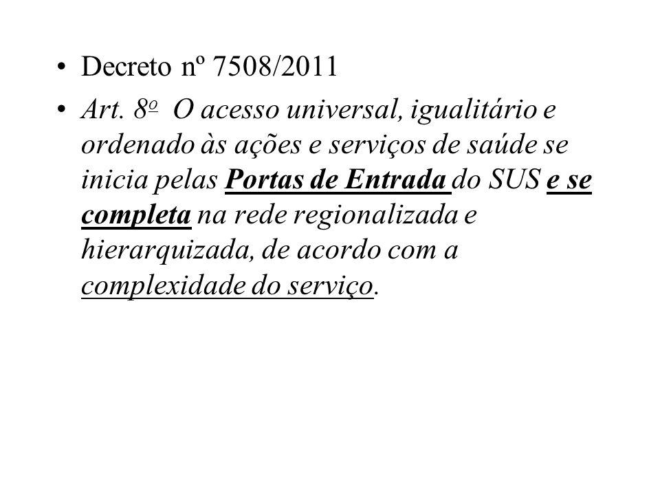 Decreto nº 7508/2011 Art. 8 o O acesso universal, igualitário e ordenado às ações e serviços de saúde se inicia pelas Portas de Entrada do SUS e se co