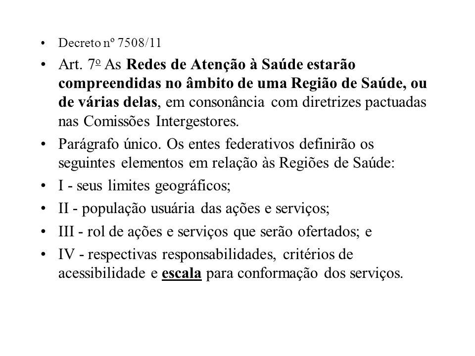 Decreto nº 7508/11 Art. 7 o As Redes de Atenção à Saúde estarão compreendidas no âmbito de uma Região de Saúde, ou de várias delas, em consonância com