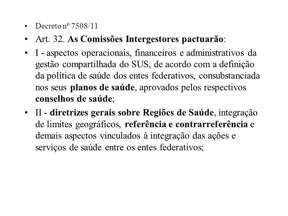 Decreto nº 7508/11 Art. 32. As Comissões Intergestores pactuarão: I - aspectos operacionais, financeiros e administrativos da gestão compartilhada do