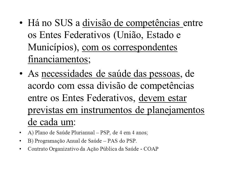 Há no SUS a divisão de competências entre os Entes Federativos (União, Estado e Municípios), com os correspondentes financiamentos; As necessidades de
