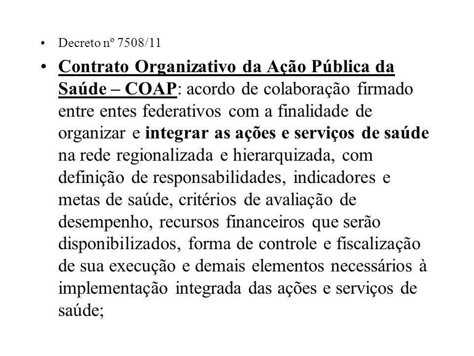 Decreto nº 7508/11 Contrato Organizativo da Ação Pública da Saúde – COAP: acordo de colaboração firmado entre entes federativos com a finalidade de or