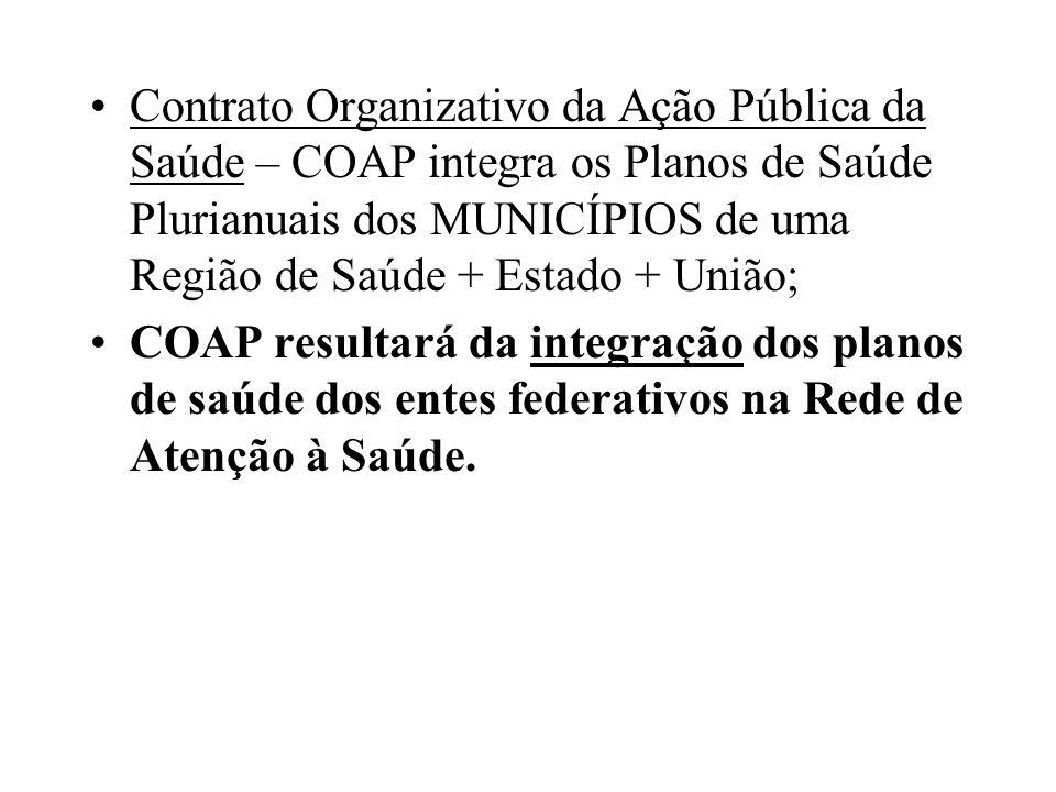 Contrato Organizativo da Ação Pública da Saúde – COAP integra os Planos de Saúde Plurianuais dos MUNICÍPIOS de uma Região de Saúde + Estado + União; C