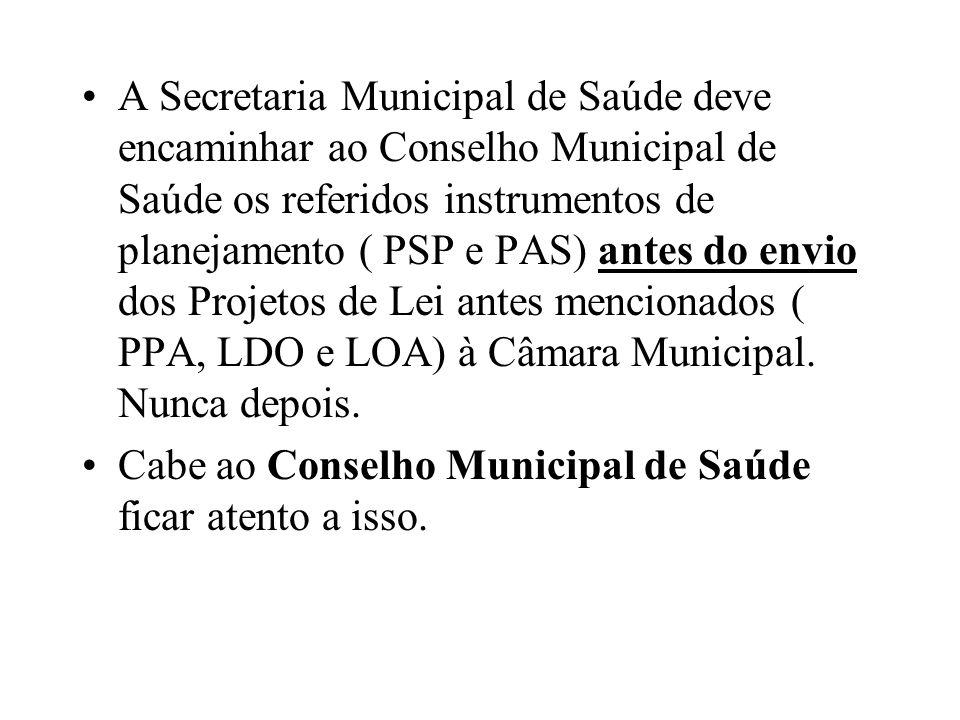 A Secretaria Municipal de Saúde deve encaminhar ao Conselho Municipal de Saúde os referidos instrumentos de planejamento ( PSP e PAS) antes do envio d