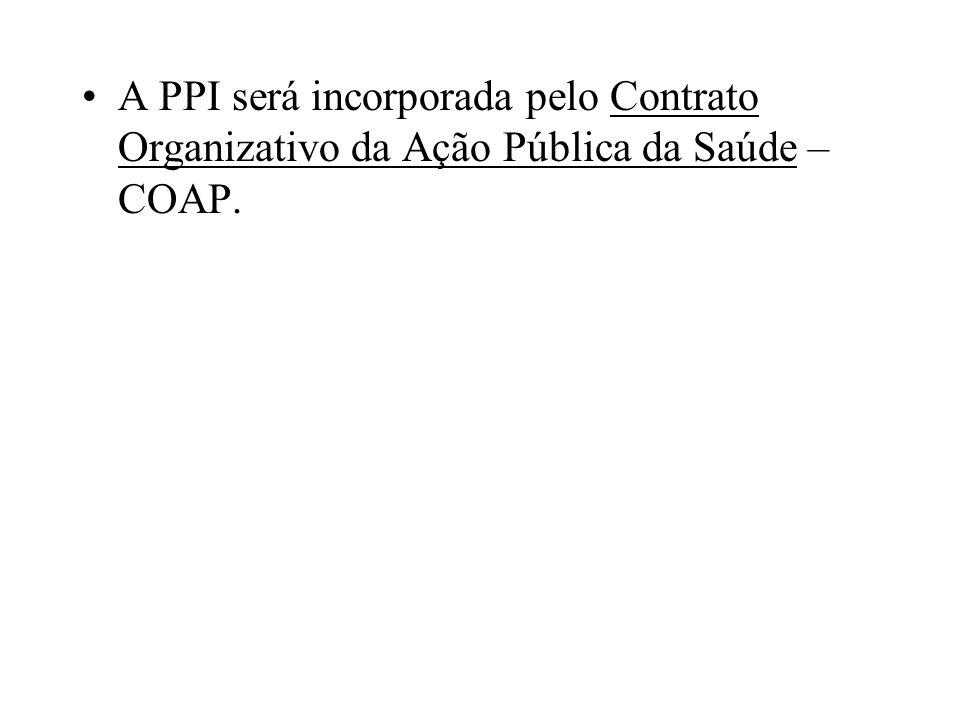 A PPI será incorporada pelo Contrato Organizativo da Ação Pública da Saúde – COAP.