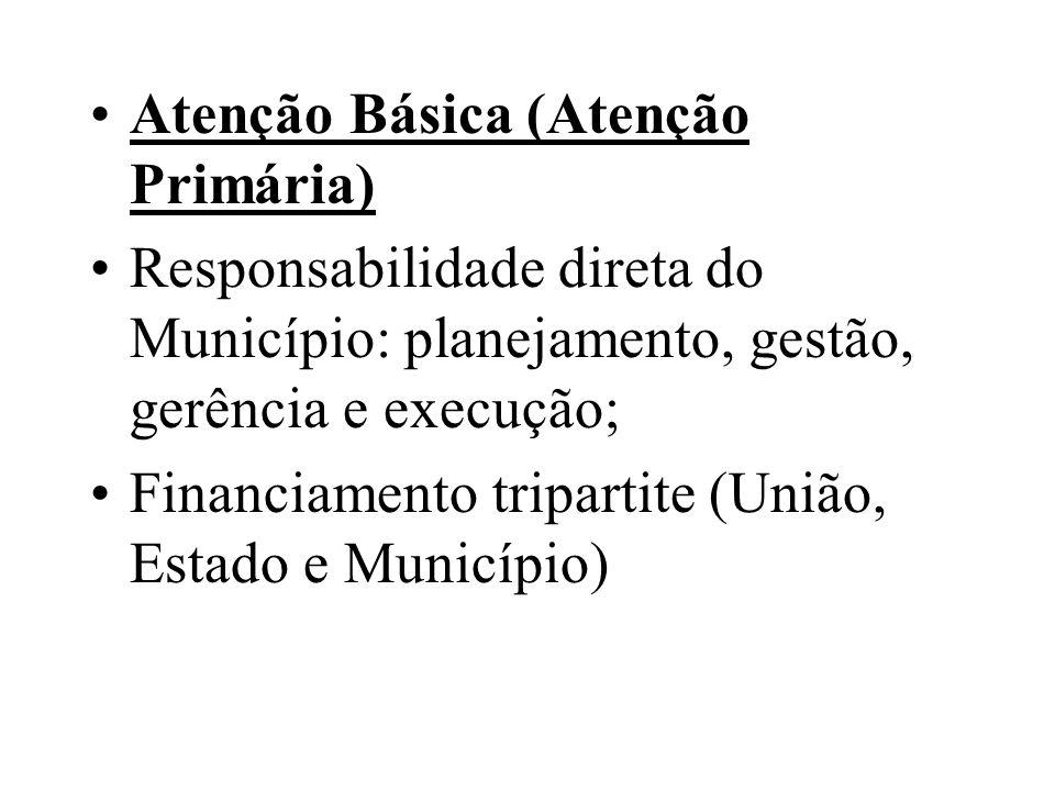 Atenção Básica (Atenção Primária) Responsabilidade direta do Município: planejamento, gestão, gerência e execução; Financiamento tripartite (União, Es