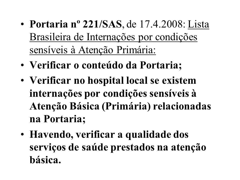 Portaria nº 221/SAS, de 17.4.2008: Lista Brasileira de Internações por condições sensíveis à Atenção Primária: Verificar o conteúdo da Portaria; Verif
