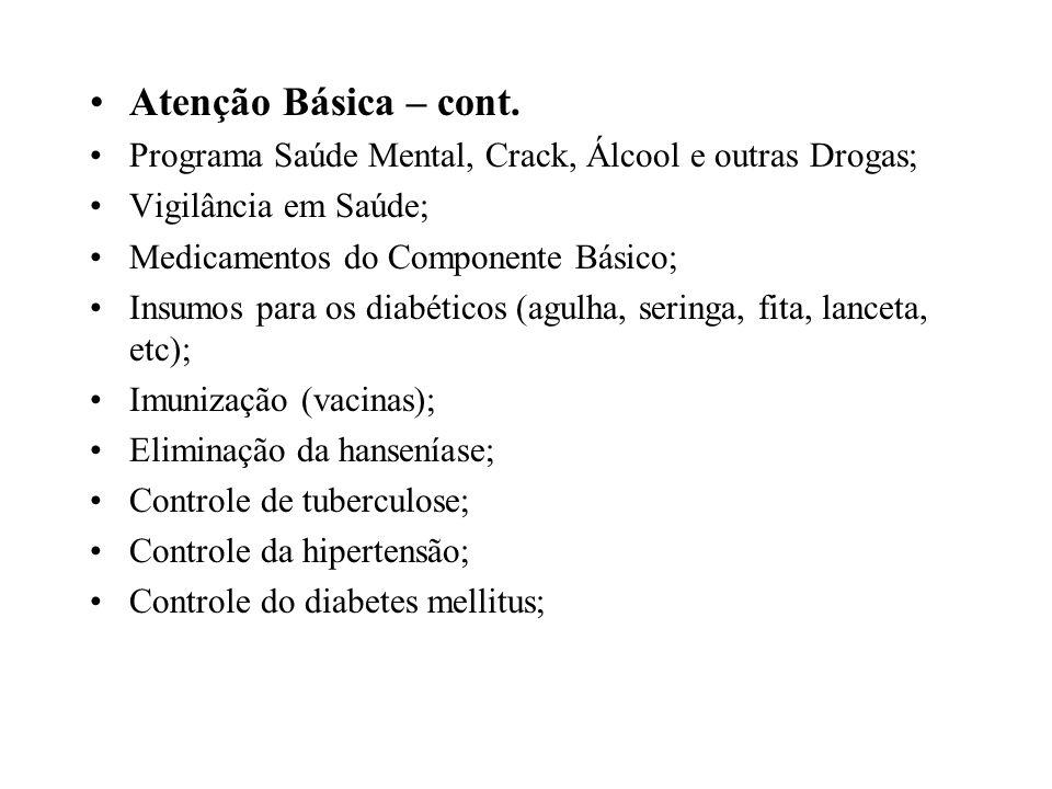 Atenção Básica – cont. Programa Saúde Mental, Crack, Álcool e outras Drogas; Vigilância em Saúde; Medicamentos do Componente Básico; Insumos para os d