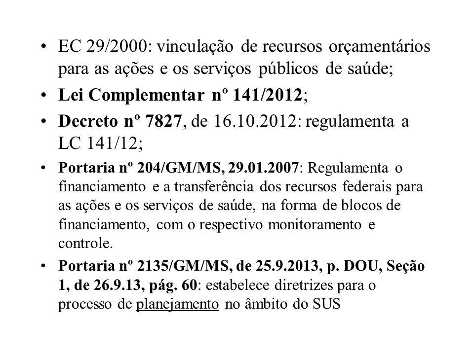 EC 29/2000: vinculação de recursos orçamentários para as ações e os serviços públicos de saúde; Lei Complementar nº 141/2012; Decreto nº 7827, de 16.1