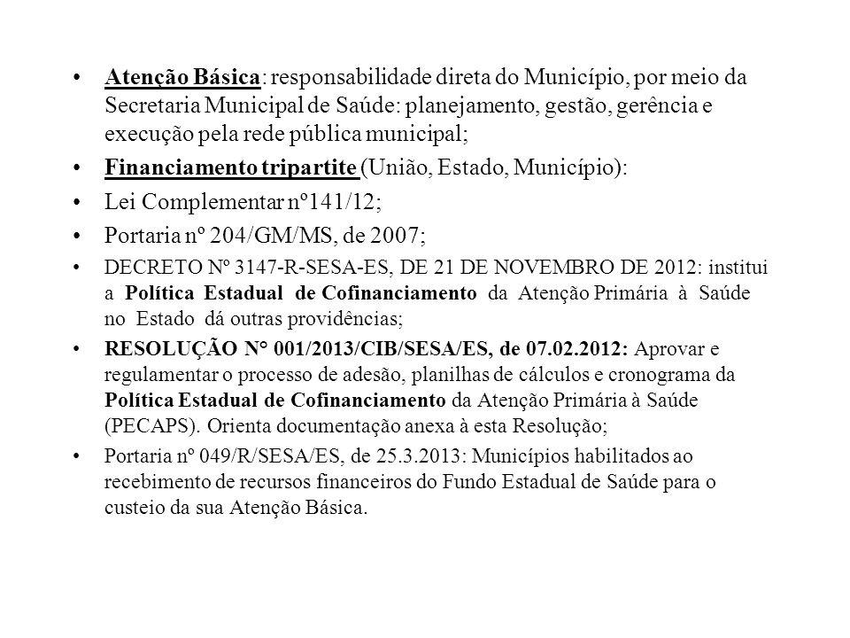 Atenção Básica: responsabilidade direta do Município, por meio da Secretaria Municipal de Saúde: planejamento, gestão, gerência e execução pela rede p