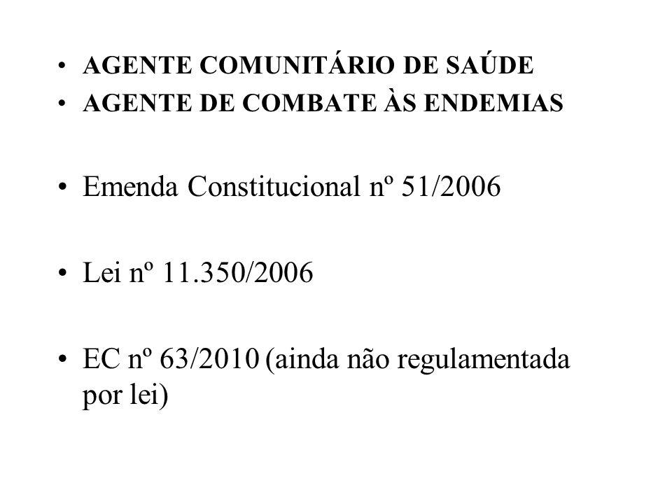 AGENTE COMUNITÁRIO DE SAÚDE AGENTE DE COMBATE ÀS ENDEMIAS Emenda Constitucional nº 51/2006 Lei nº 11.350/2006 EC nº 63/2010 (ainda não regulamentada p