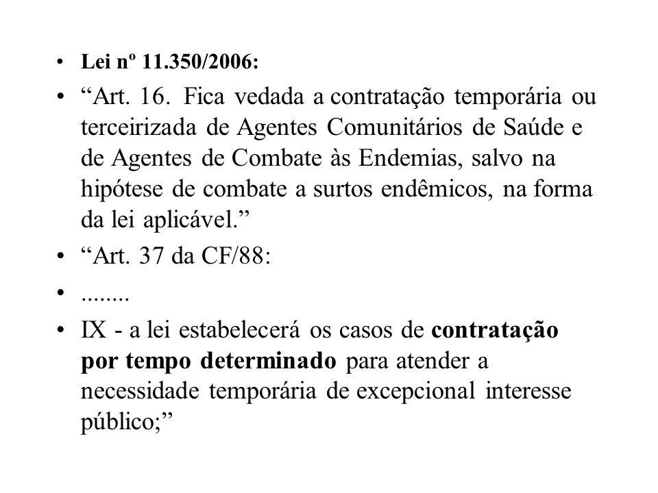 Lei nº 11.350/2006: Art. 16. Fica vedada a contratação temporária ou terceirizada de Agentes Comunitários de Saúde e de Agentes de Combate às Endemias