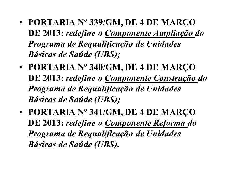 PORTARIA Nº 339/GM, DE 4 DE MARÇO DE 2013: redefine o Componente Ampliação do Programa de Requalificação de Unidades Básicas de Saúde (UBS); PORTARIA