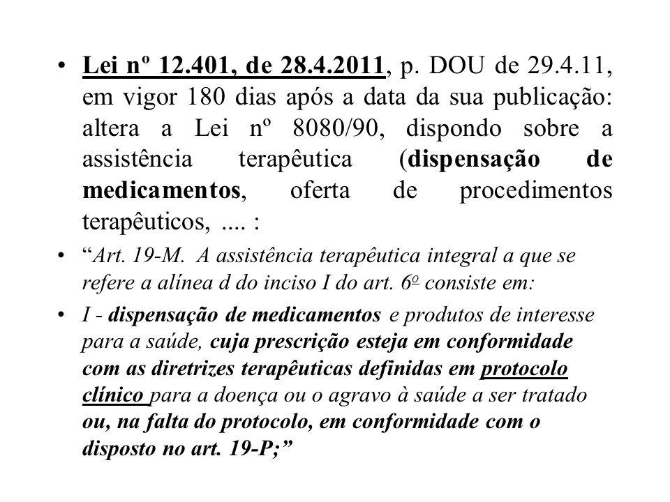 Lei nº 12.401, de 28.4.2011, p. DOU de 29.4.11, em vigor 180 dias após a data da sua publicação: altera a Lei nº 8080/90, dispondo sobre a assistência