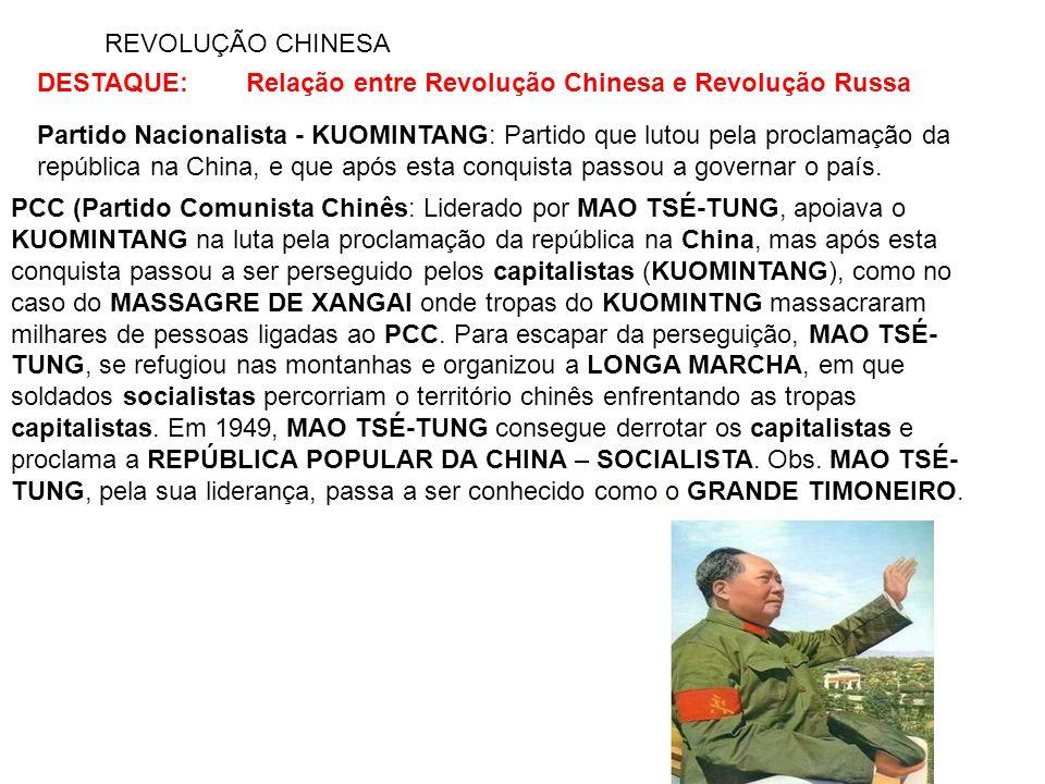 REVOLUÇÃO CHINESA DESTAQUE:Relação entre Revolução Chinesa e Revolução Russa Partido Nacionalista - KUOMINTANG: Partido que lutou pela proclamação da